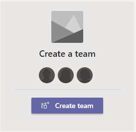 """Click on the """"Create team"""" button"""