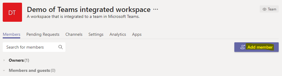 """You can add members to the team by clicking in the """"Add members"""" button"""