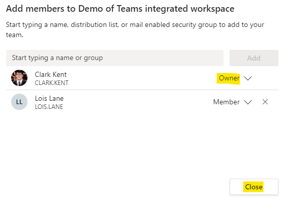 """You can change the role from """"Member"""" to """"Owner"""""""