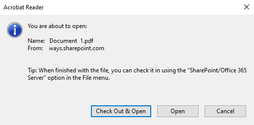 Options when opening a SharePoint file from Adobe Acrobat