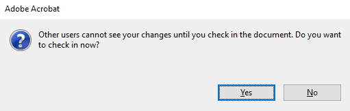 When you save the document you will be prompted to check in the document