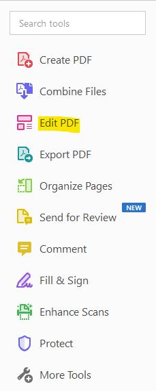 "On Adobe Acrobat's toolbar select the ""Edit PDF"" option"