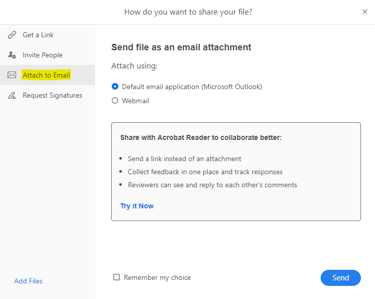 """Select the """"Attach to Email"""" option"""