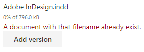 MetaShare's file-name conflict warning