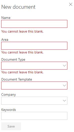 MetaShare's document property form
