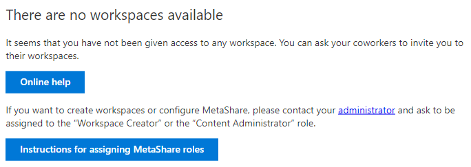 There are no workspaces available