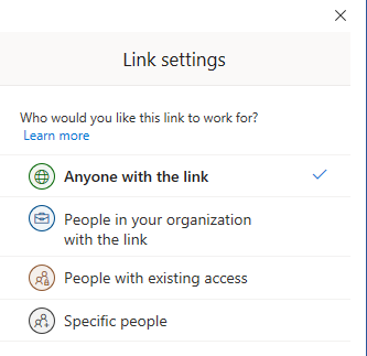 Specify who you want to share a document with