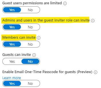 """Ensure that both """"Admins and users in the guest inviter role can invite"""" and """"Members can invite"""" are set to """"Yes"""""""
