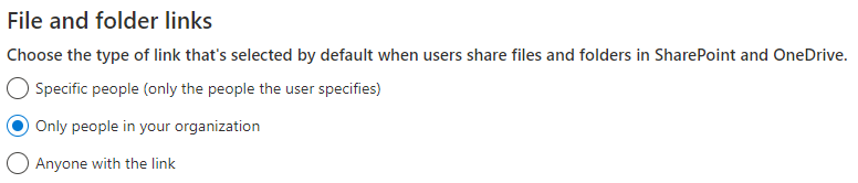 Choose the type of link that's selected by default