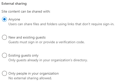 Set the desired sharing level for the site