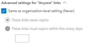 """Define the expiration time for """"Anyone"""" links"""