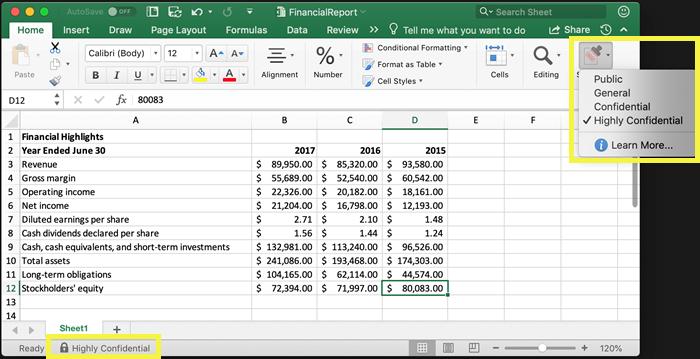 Sensitivity label on Excel ribbon and status bar